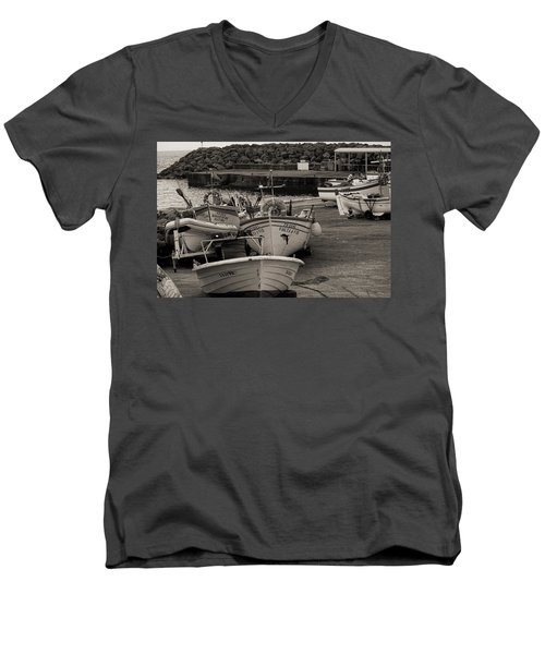 Groups Of Fishing Boats With Life Preservers Docked  Men's V-Neck T-Shirt
