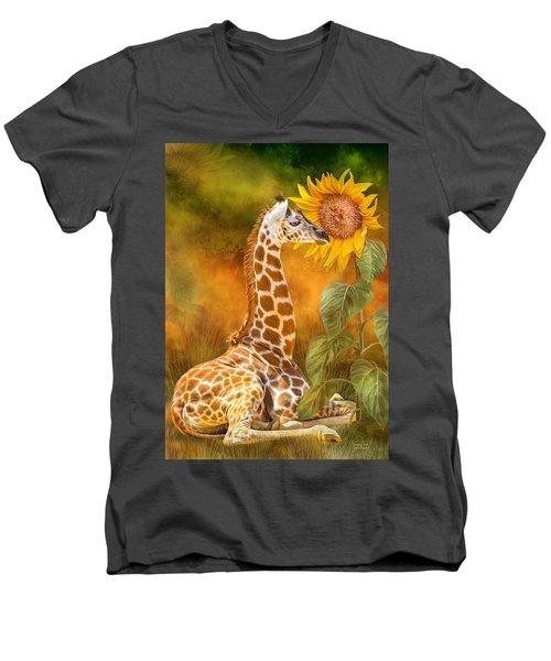 Men's V-Neck T-Shirt featuring the mixed media Growing Tall - Giraffe by Carol Cavalaris