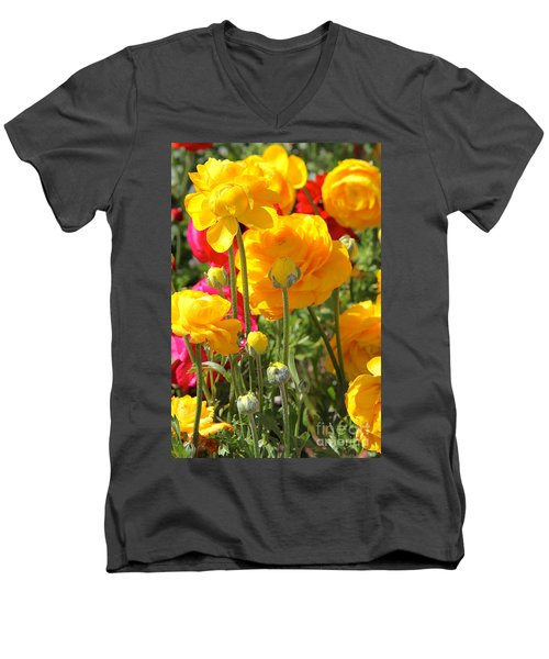 Growth Of A Ranunculus Men's V-Neck T-Shirt by Suzanne Oesterling