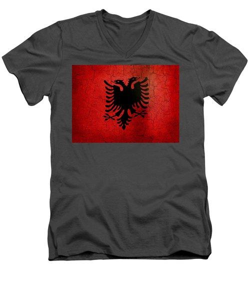Grunge Albania Flag Men's V-Neck T-Shirt