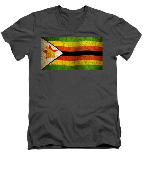 Grunge Zimbabwe Flag Men's V-Neck T-Shirt