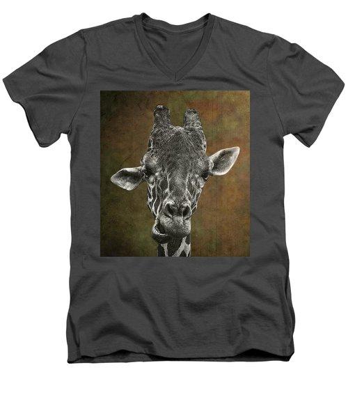 Grungy Giraffe 5654 Brown Men's V-Neck T-Shirt
