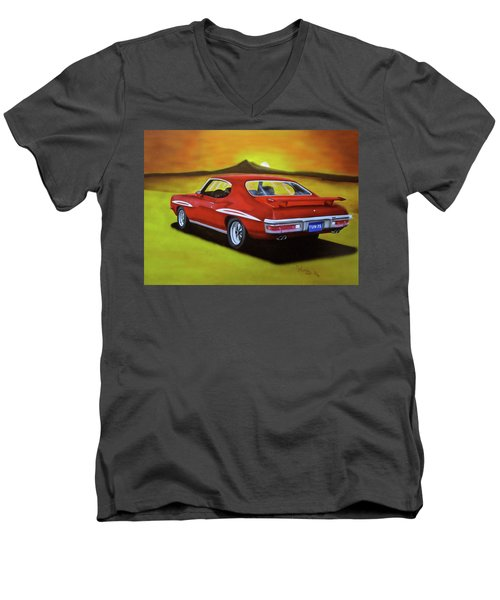 Men's V-Neck T-Shirt featuring the painting Gto 1971 by Thomas J Herring