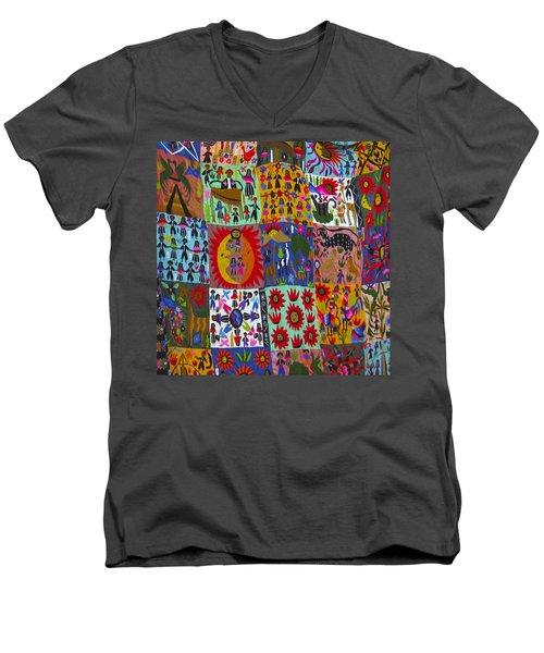 Guatemala Folk Art Quilt Men's V-Neck T-Shirt