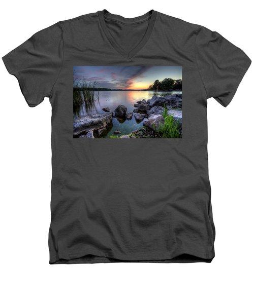 Guilford Lake Sunset Men's V-Neck T-Shirt