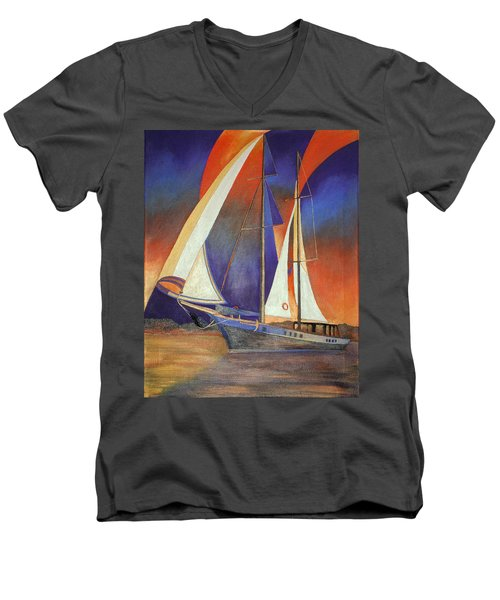 Men's V-Neck T-Shirt featuring the painting Gulet Under Sail by Tracey Harrington-Simpson
