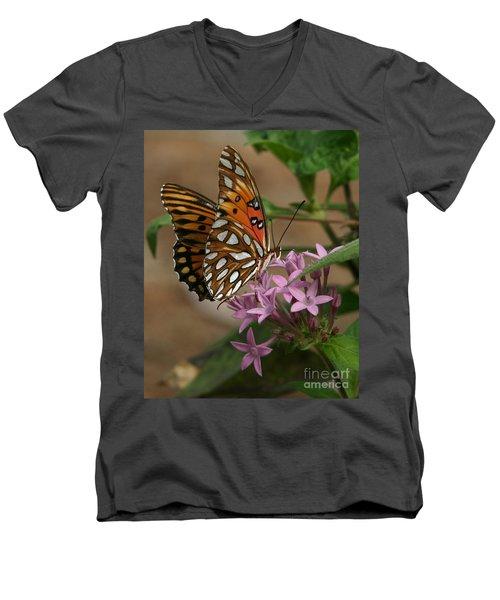 Gulf Fritillary Butterfly Men's V-Neck T-Shirt by Liz Masoner