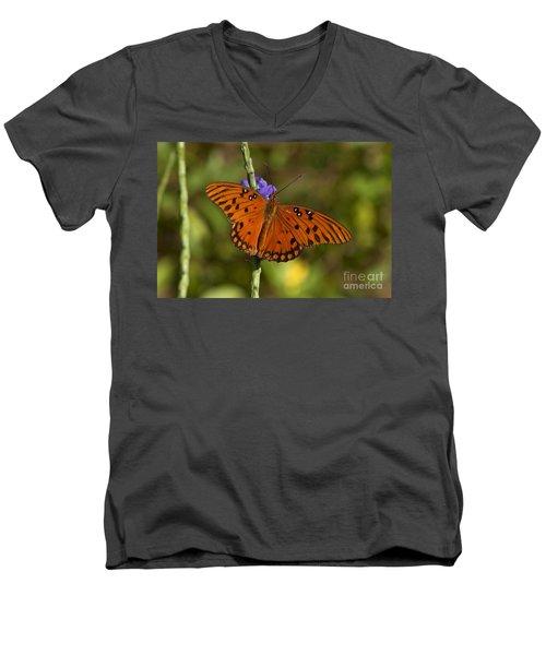 Men's V-Neck T-Shirt featuring the photograph Gulf Fritillary Butterfly by Meg Rousher