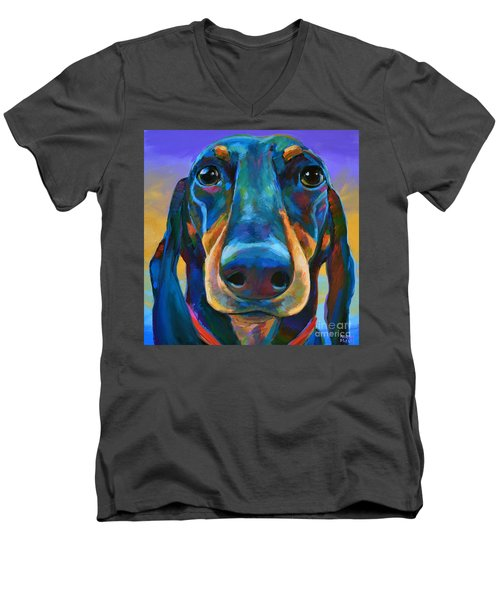 Men's V-Neck T-Shirt featuring the painting Gus by Robert Phelps