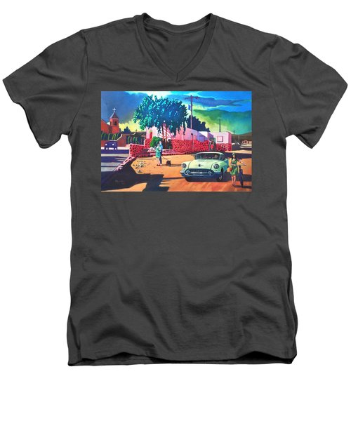 Men's V-Neck T-Shirt featuring the painting Guys Dolls And Pink Adobe by Art James West
