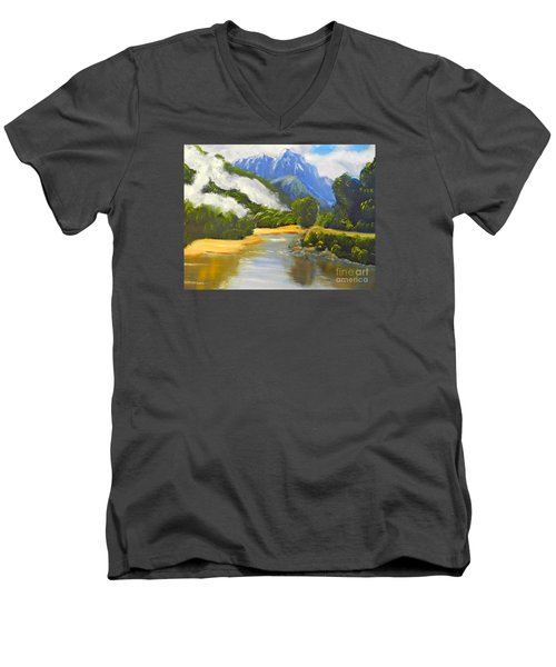 Men's V-Neck T-Shirt featuring the painting Haast River New Zealand by Pamela  Meredith