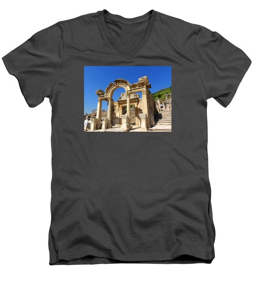 Men's V-Neck T-Shirt featuring the photograph Hadrian Temple Ephesus by Lou Ann Bagnall