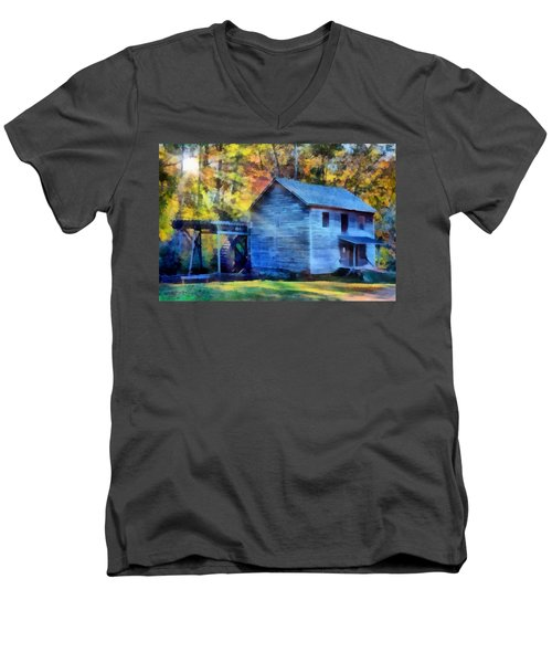 Hagood Mill With Sunrays Men's V-Neck T-Shirt