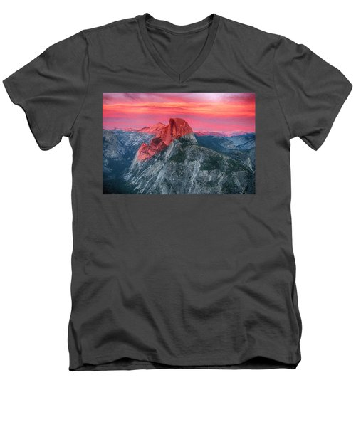 Men's V-Neck T-Shirt featuring the painting Half Dome Sunset From Glacier Point by John Haldane