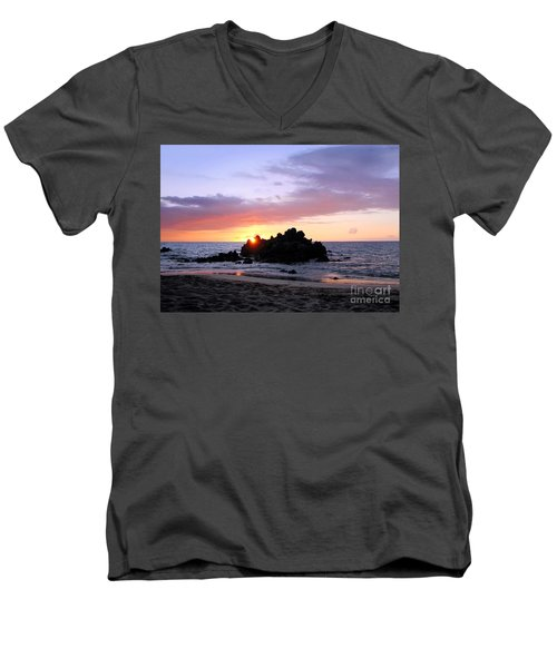 Men's V-Neck T-Shirt featuring the photograph Hali A Aloha by Ellen Cotton