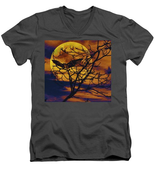 Men's V-Neck T-Shirt featuring the painting Halloween Full Moon Terror by David Mckinney