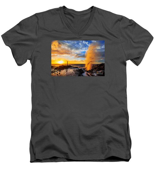 Men's V-Neck T-Shirt featuring the photograph Halona Blowhole At Sunrise by Aloha Art