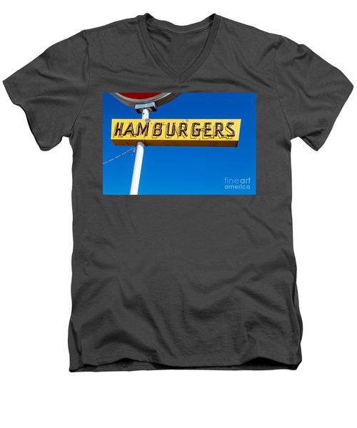 Hamburgers Old Neon Sign Men's V-Neck T-Shirt