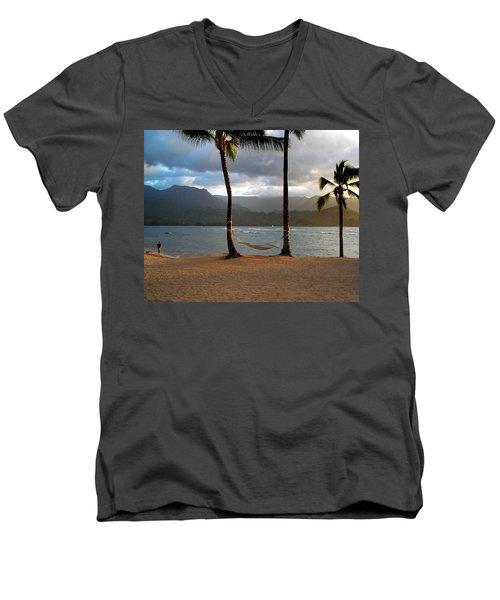 Hammock At Hanalei Bay Men's V-Neck T-Shirt by James Eddy