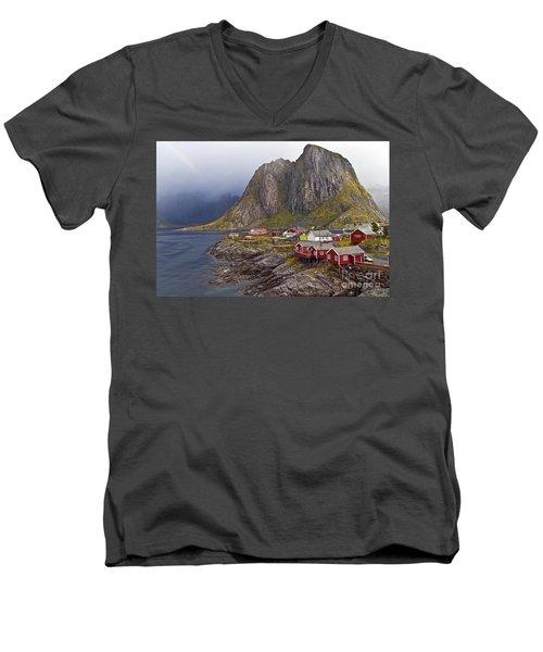 Hamnoy Rorbu Village Men's V-Neck T-Shirt