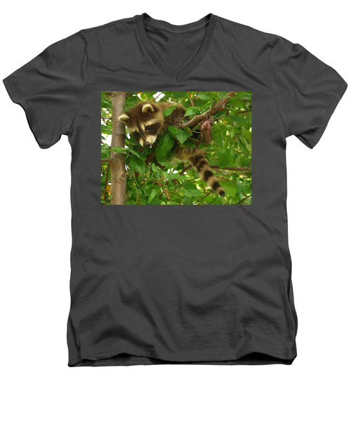 Men's V-Neck T-Shirt featuring the photograph Hang In There by James Peterson