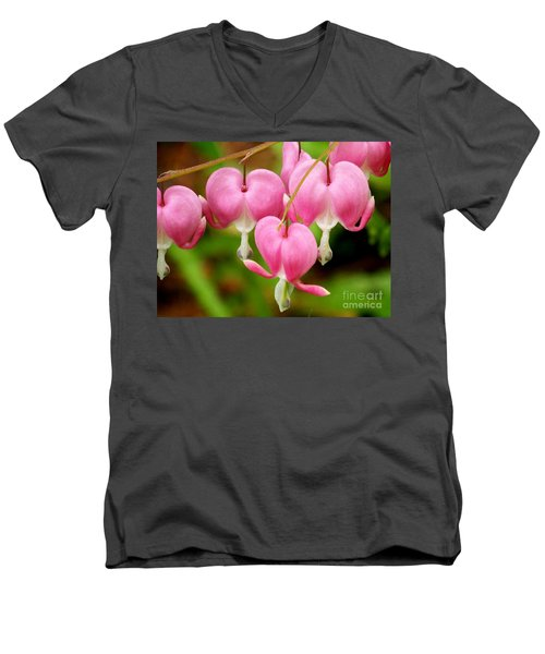 Hanging Hearts In Pink And White Men's V-Neck T-Shirt by Eunice Miller