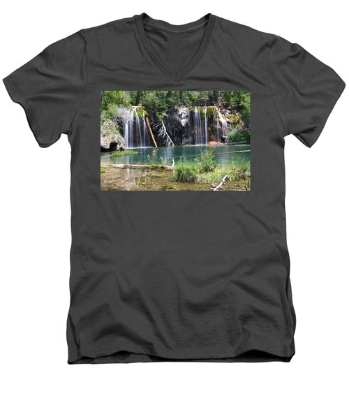 Hanging Lake Men's V-Neck T-Shirt by Eric Glaser