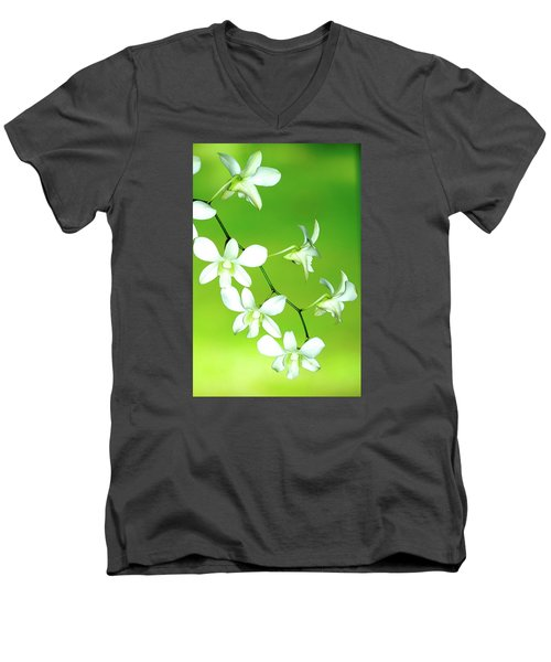 Men's V-Neck T-Shirt featuring the photograph Hanging White Orchids by Lehua Pekelo-Stearns