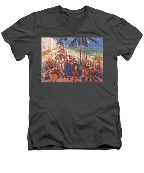 Men's V-Neck T-Shirt featuring the painting Happening by Walter Casaravilla