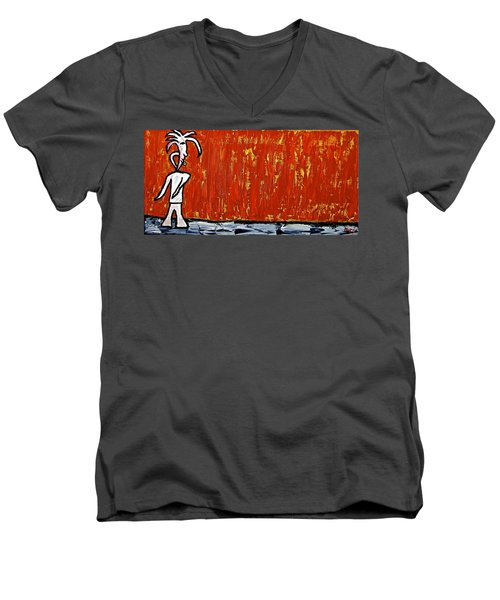 Men's V-Neck T-Shirt featuring the painting Happiness 12-007 by Mario Perron