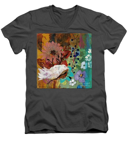 Men's V-Neck T-Shirt featuring the painting Happiness by Robin Maria Pedrero