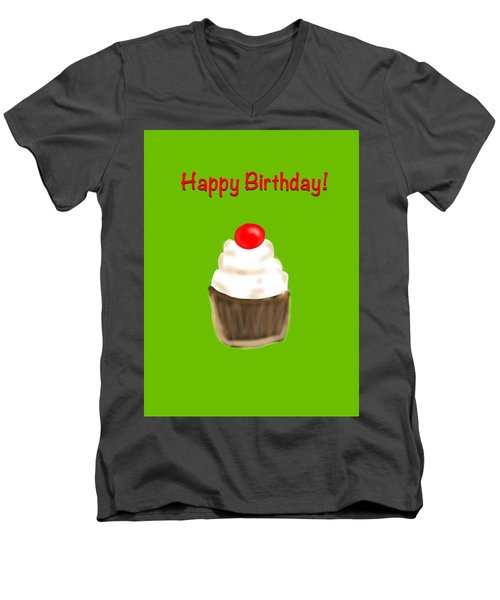 Men's V-Neck T-Shirt featuring the digital art Happy Bday W A Cherry On Top by Christine Fournier