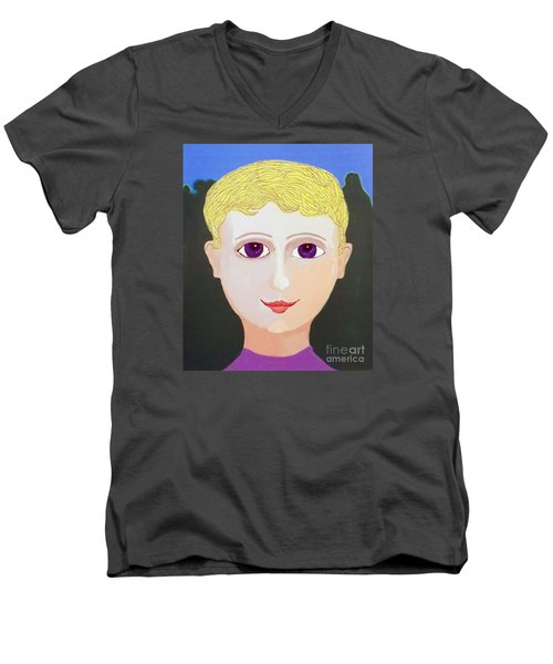 Happy Boy Men's V-Neck T-Shirt by Fred Jinkins