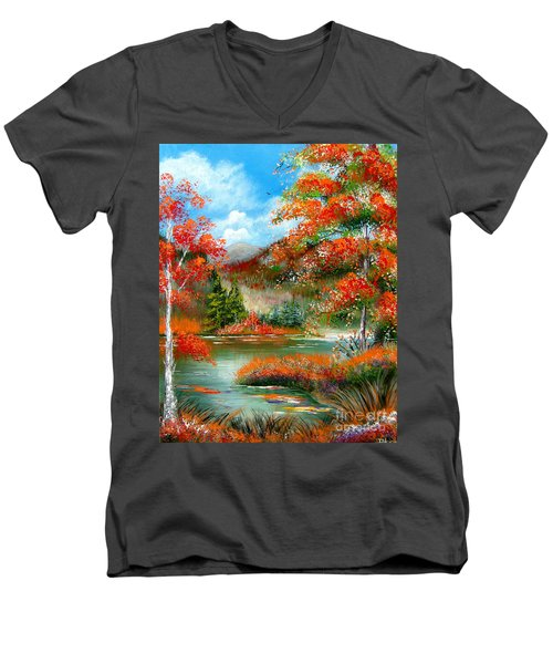 Men's V-Neck T-Shirt featuring the painting Happy Ever After Autumn  by Patrice Torrillo