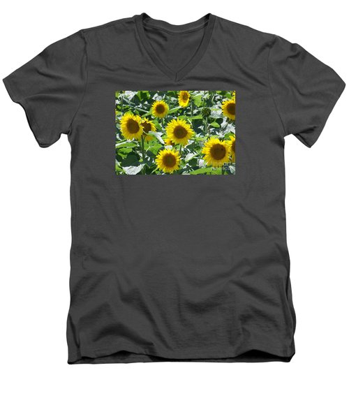Men's V-Neck T-Shirt featuring the photograph Happy Faces by Jackie Mueller-Jones