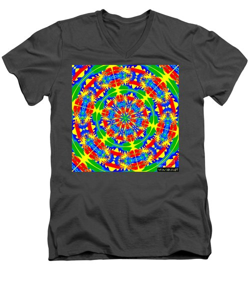 Men's V-Neck T-Shirt featuring the photograph Happy Hands Mandala by Linda Weinstock