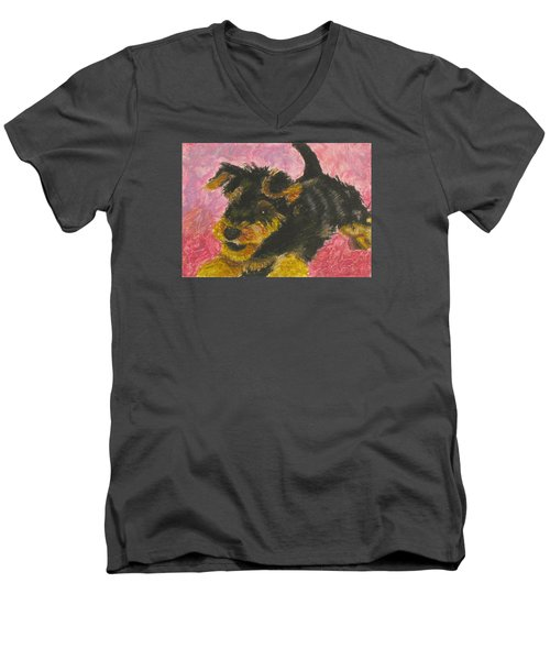 Happy Men's V-Neck T-Shirt by Jeanne Fischer
