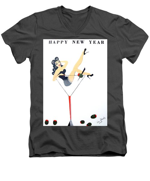 Men's V-Neck T-Shirt featuring the painting Happy New Year by Nora Shepley
