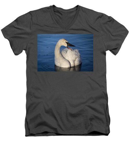 Men's V-Neck T-Shirt featuring the photograph Happy Swan by Patti Deters