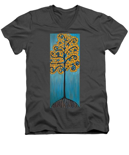 Happy Tree In Blue And Gold Men's V-Neck T-Shirt