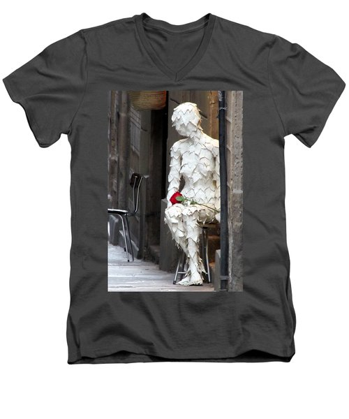 Men's V-Neck T-Shirt featuring the photograph Happy Valentines Day by Jennifer Wheatley Wolf