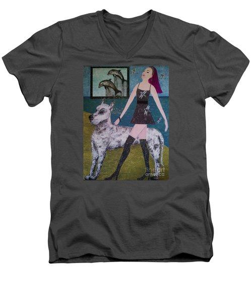 Happy Walk By Jasna Gopic Men's V-Neck T-Shirt