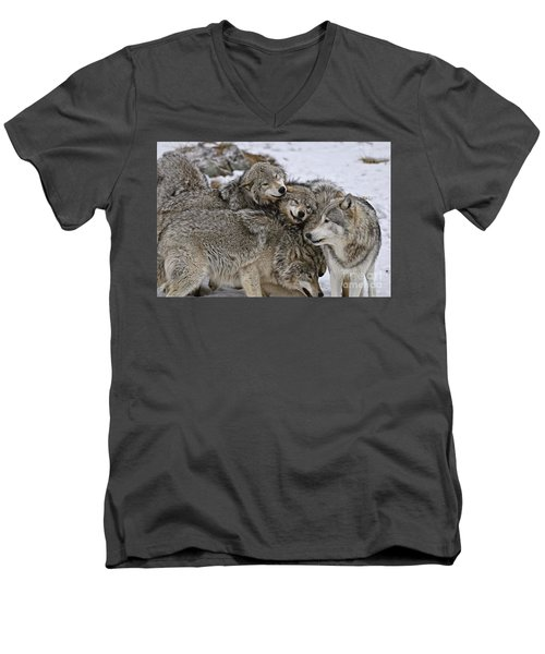 Happy Wolf Pack Men's V-Neck T-Shirt