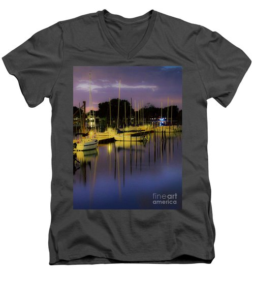 Harbor At Night Men's V-Neck T-Shirt