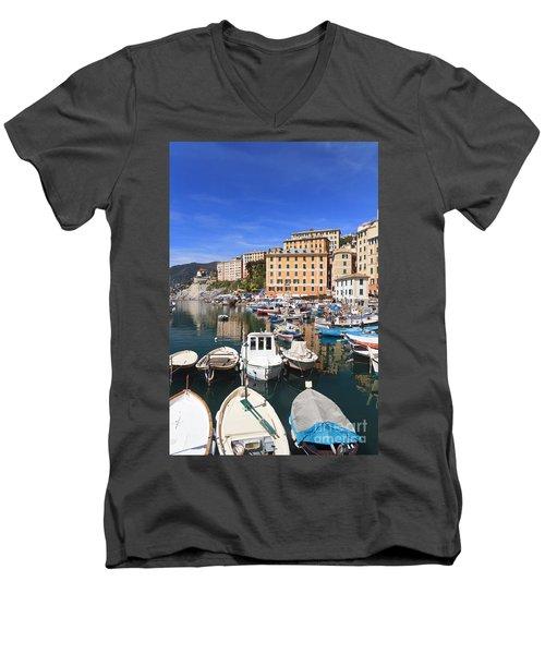 harbor in Camogli - Italy Men's V-Neck T-Shirt by Antonio Scarpi