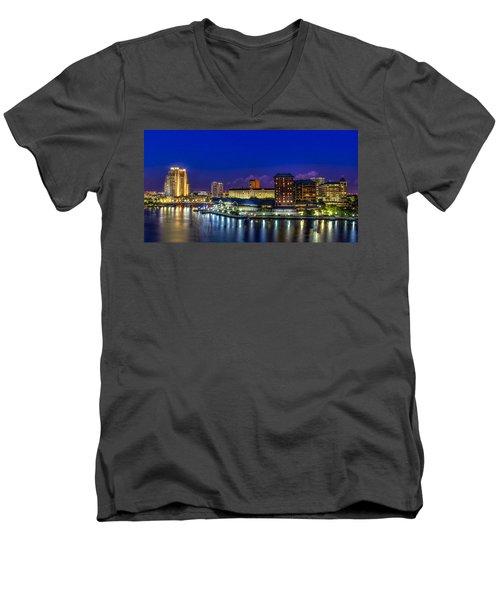 Harbor Island Nightlights Men's V-Neck T-Shirt by Marvin Spates