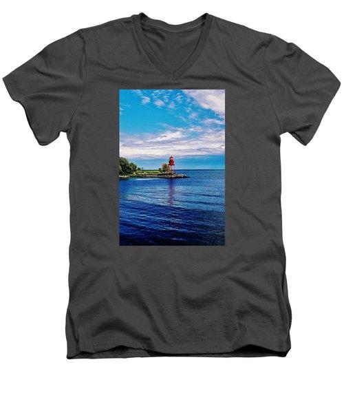 Men's V-Neck T-Shirt featuring the photograph Harbor Light by Daniel Thompson
