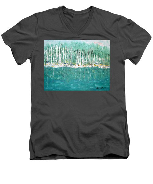 Harbor Shores Men's V-Neck T-Shirt by George Riney