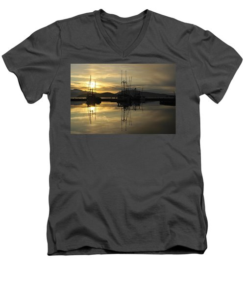 Men's V-Neck T-Shirt featuring the photograph Harbor Sunset by Cathy Mahnke