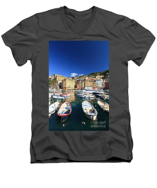 Men's V-Neck T-Shirt featuring the photograph Harbor With Fishing Boats by Antonio Scarpi